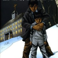 front cover of the Ends/Begins graphic novel. Depicts a man holding a boy outside of a Residential School at night.